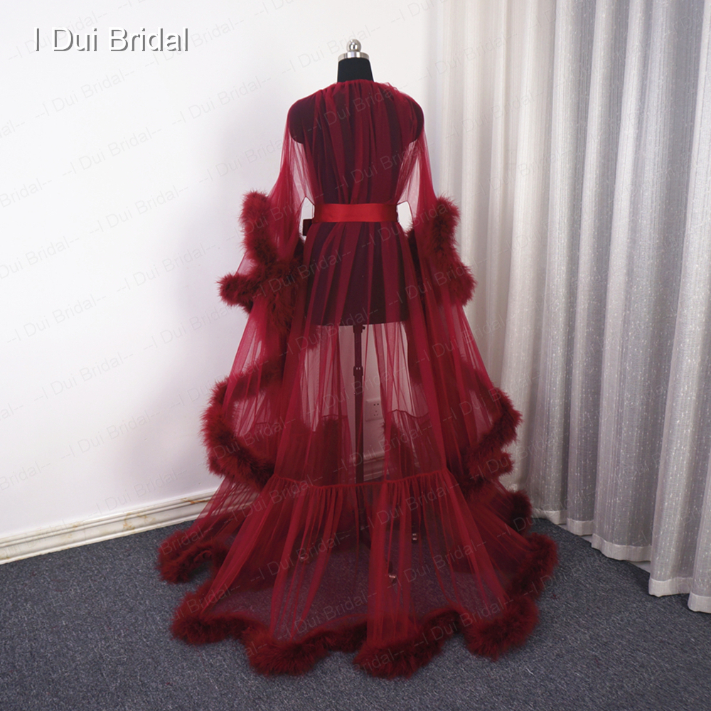 Burgundy Feather Robe  Boudoir Tulle Illusion Bridal Robe Long Gift for Bride Homecoming Party Dress