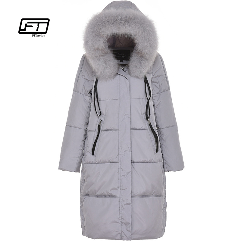 Fitaylor Brand Winter Women Long Jackets Real Fox Fur Hooded Women's Down Parka Plus Size 5xl Coats Thicken Warm Snow Outerwear