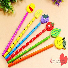 B315 Korean stationery wooden cartoon fancy student gifts flat fruit pencils Teaching equipment for office supplies for student(China)
