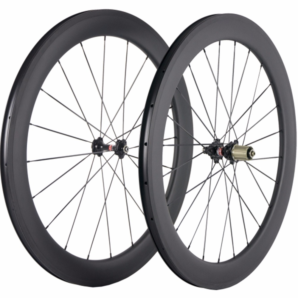 1 Set Of 60mm Clincher Carbon Wheel 25mm Width U Shape Carbon Road Wheelset Novatec 271 Hub Carbon Bicycle Wheels