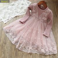 BIIIIIIG Spring Autumn Girl Knitting Fashion Embroidered Dress Kids Princess Party Lace Dresses Cute Clothes Christmas