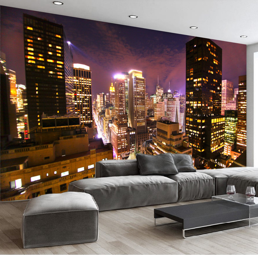 Custom Wall Mural Hong Kong City Night View 3D Landscape