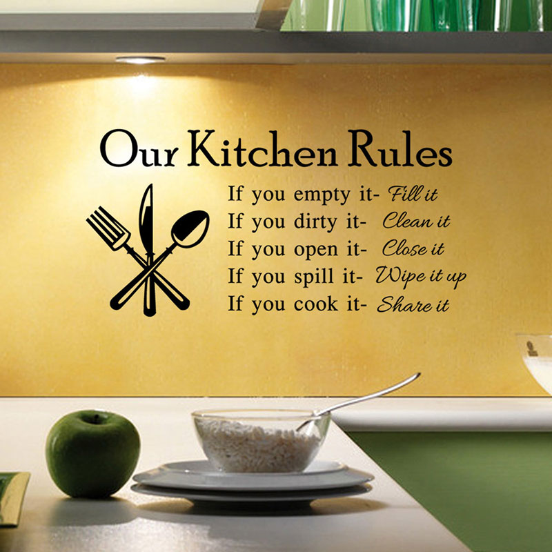 Home Decor DIY Our Kitchen Rules Cook Words Quote Wall Stickers Vinyl Art Decals Dining Room 2016