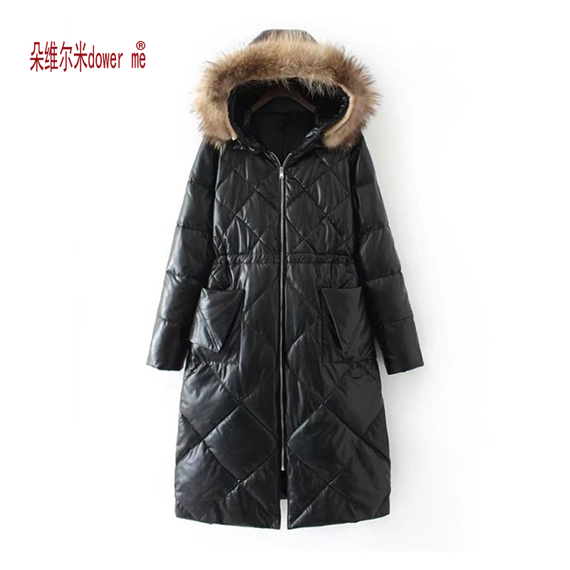 dower me  2017 womens winter down jackets and coats women High Quality Warm Female thickening Warm pu Parka Hood Over Coat