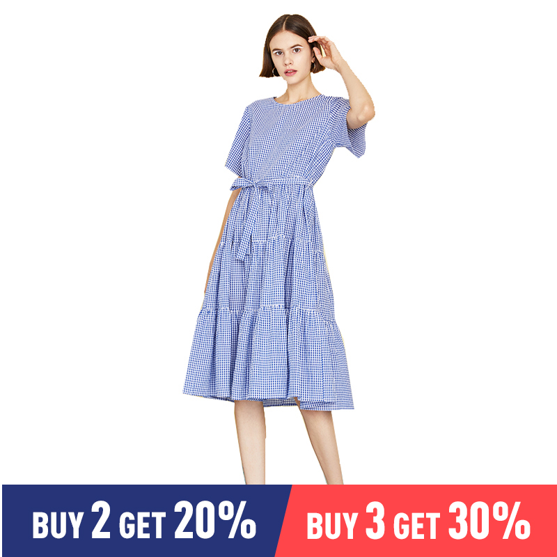 Toyouth Lady Plaid Belted Flippy Hem Maxi Dress Women Casual Cotton High Waist Short Sleeve Summer