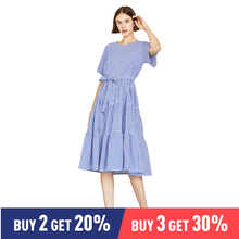 Toyouth Lady Plaid Belted Flippy Hem Maxi Dress Women Casual Cotton High Waist Short Sleeve Summer Dress