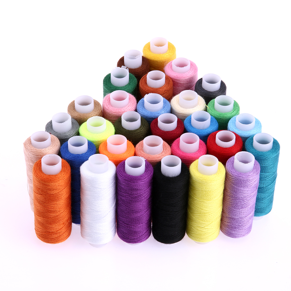 30Pcs 250 Yard Polyester Machine Embroidery Sewing Threads Hand Sewing Thread Craft Patch Steering-wheel Sewing Supplies