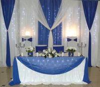 Бесплатная доставка Чистый белый свадебный фон с Королевский синий цвет гирлянды Ice Шелковый занавес 10ft x 20ft в том числе светодиодные