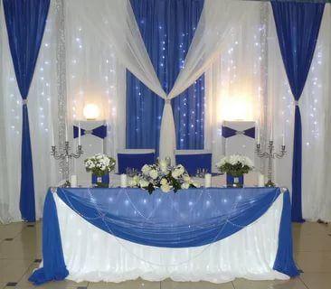 Livraison gratuite toile de fond de mariage blanc pur avec bleu royal swags glace soie scène rideau 10ft x 20ft y compris lumière LED