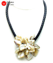 Qingmos Трендовое ожерелье в виде цветка для женщин 70 мм белое