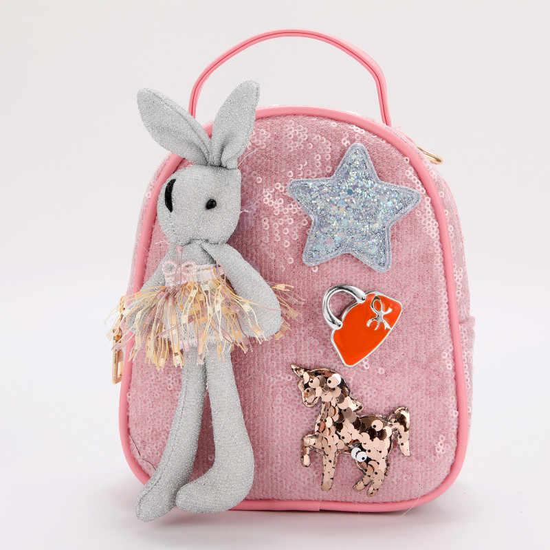 KAFVNIE мини детский рюкзак популярная блестящая сумка PU Рюкзак для детей подростков розовый с плечевыми сумками женская оптовая продажа 2019