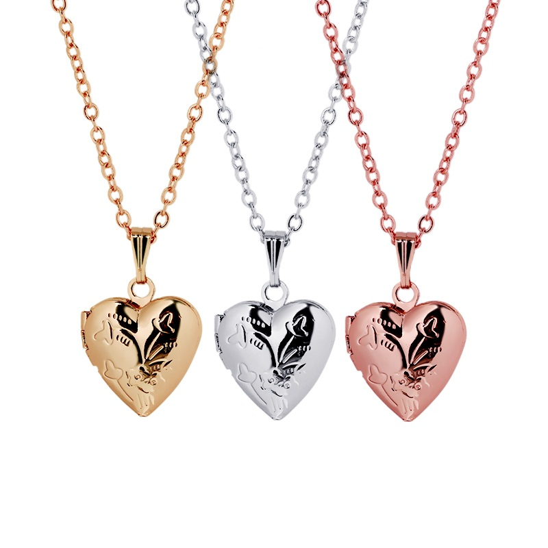 Valentines Mothers Day Gift Women Engraved Flower Love Heart Pendant Locket Necklace Vintage Memory Photo Jewelry