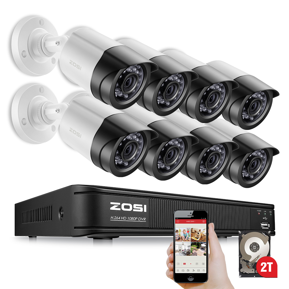 ZOSI 8CH 1080P HD-TVI DVR 8PCS HD 2.0MP 1080P Real Time Outdoor Security Cameras Video DVR Kits CCTV Surveillance System 2TB HDD zosi 1080p 8ch tvi dvr with 8x 1080p hd outdoor home security video surveillance camera system 2tb hard drive white
