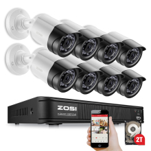 ZOSI 8CH 1080P HD-TVI DVR 8PCS HD 2.0MP 1080P Real Time Outdoor Security Cameras Video DVR Kits CCTV Surveillance System 2TB HDD