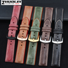 High quality and soft fog genuine leather with Waterproof rubber bottom watchband for men's brand Watch Band Strap + tool