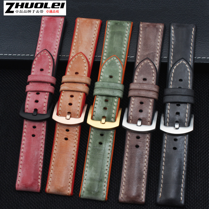 High quality and soft fog genuine leather with Waterproof rubber bottom watchband for men's brand Watch Band Strap + tool high quality genuine calf hide leather for diesel watch strap band for dz7257 dz7345 27mm 28mm 30mm 32mm 34mm man watchband tool