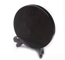 Os recém chegados de alta qualidade 100% natural preto obsidian pedra círculo disco placa redonda fengshui espelho para casa & escritório decoração