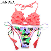 BANDEA Biquinis 2016 New Hot Print Women Sexy Swimsuit Floral Tassel Removable Padding Beach Bathing Wear