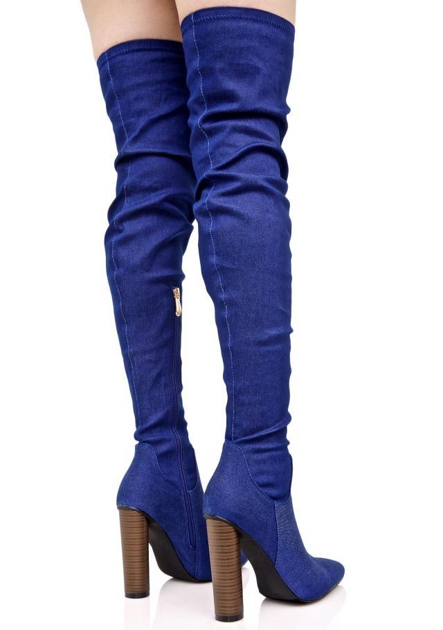 Estrecha Otoño Zapatos Punta Denim Vestido Rodilla Mujeres Muslo Alto Tacón Partido Mujer Botas Nuevo La Primavera De Sobre Estilo FtqgTtwf