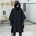 2017 Fashion Harajuku Gothic Clothing Black Mens Jacket Trench Coat Wool Men Fashion Brand Peacoat Hooded Cloak Long Big Size
