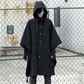 2017 de La Moda de Harajuku Ropa Gótica Negro Mens Trench Coat Jacket Hombres de La Marca de Moda de Lana Chaquetón Con Capucha Capa Larga de Gran Tamaño