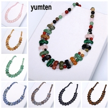 Yumten Rainbow Choker Gemstone Large Necklace Natural Stone Jewelry Ethnic Boho Accessories Power Crystal Women Trendy Gifts цена 2017