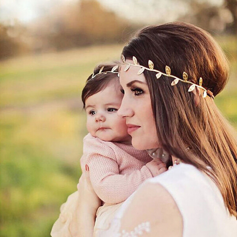 2Pcs/Set New Mom And Baby Gold Leaf Headband Set For Hair Accessories Matching Headband Baby And Mommy Headwrap Gifts