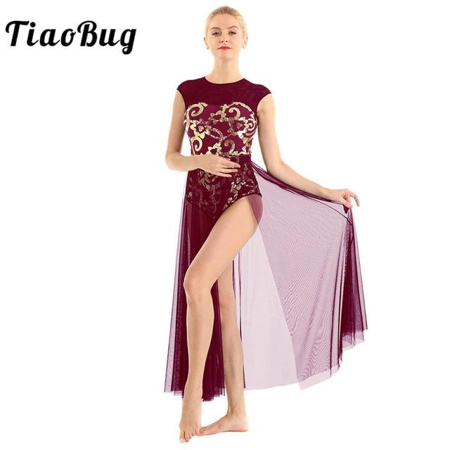 TiaoBug שרוולים פרחוני פאייטים התעמלות בלט בגד גוף נשים ארוך שמלת למבוגרים מודרני עכשווי לירי ריקוד תלבושות