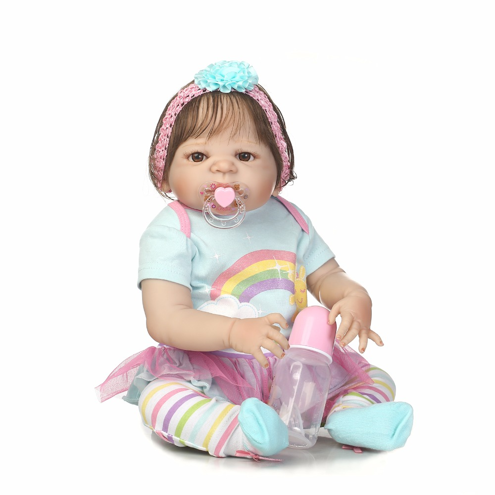 55cm Full Silicone Reborn Baby Doll Toy For Sale Newborn Princess Toddler Babies Alive Doll Cute Birthday Gift Xmas Present 55cm silicone reborn baby doll toy lifelike newborn toddler princess babies doll with bear girls bonecas birthday gift present