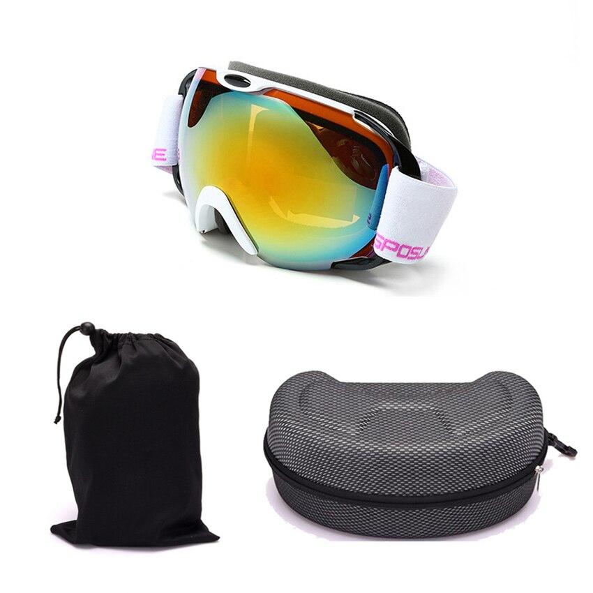 Lunettes de ski double couche UV400 professionnelles lunettes de ski anti-buée masque de snowboard anti-vent avec boîte à lunettes et sac