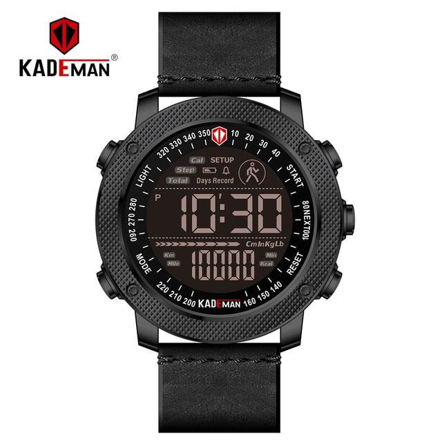 a87efc596 KADEMAN Luxury Digital Sports Watch Men Step Count Waterproof Military  Wristwatches TOP Brand Fashion Male Leather Clock Relogio