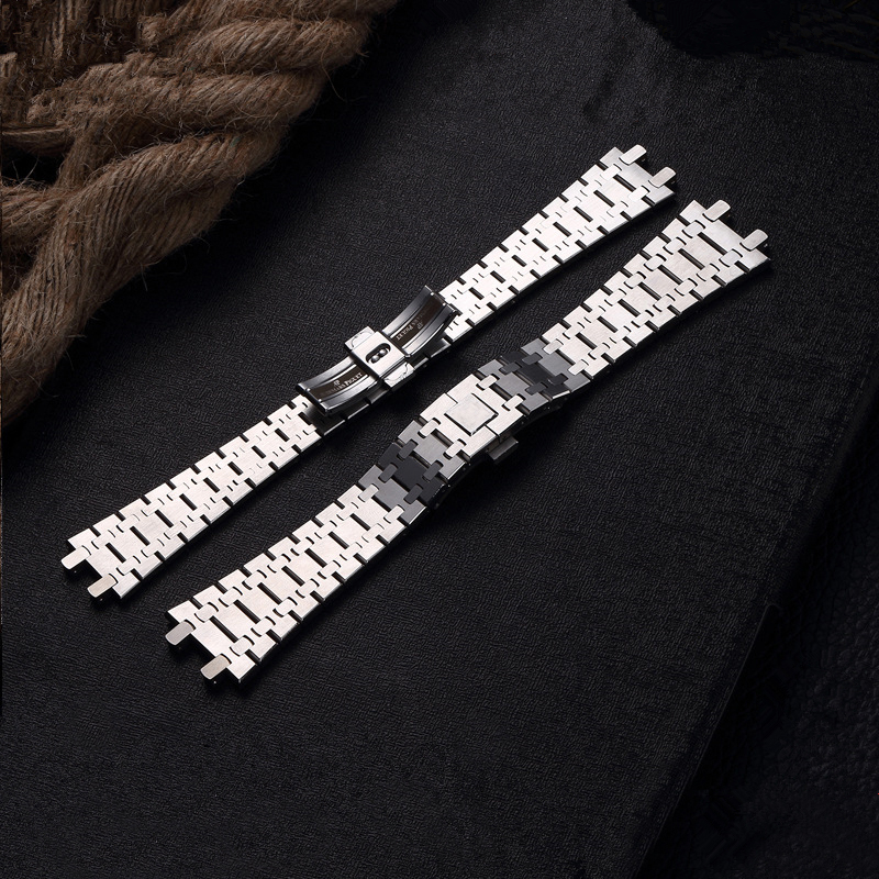 TJP Top Quality 26MM Silver Men's Full Stainless Steel Watch Band Strap Bracelet For AP ROYAL OAK Watch With Word Clasp stainless steel watch band 28mm for ap audemars piguet royal oak butterfly clasp strap loop wrist belt bracelet silver tool