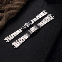 TJP Top Quality 26MM Silver Men's Full Stainless Steel Watch Band Strap Bracelet For AP ROYAL OAK Watch With Word Clasp