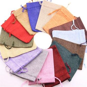 Mixed 15 Colors Randomly Wholesale 100pcs/lot High Quality Drawstring Jute Bags Wedding Candy Packaging Burlap Pouches