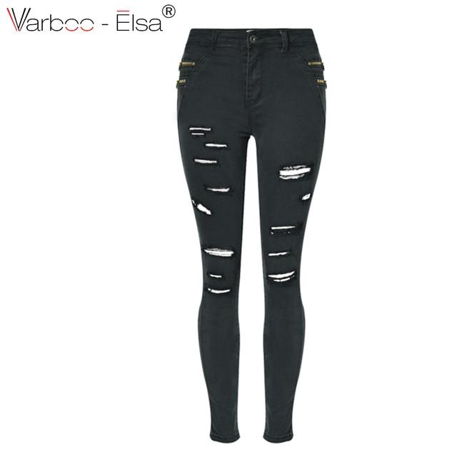 fdabbc71bff83 VARBOO_ELSA Femme Jeans noir taille haute Déchiré Denim Pantalon Slim  stretch denim pantalon D'été