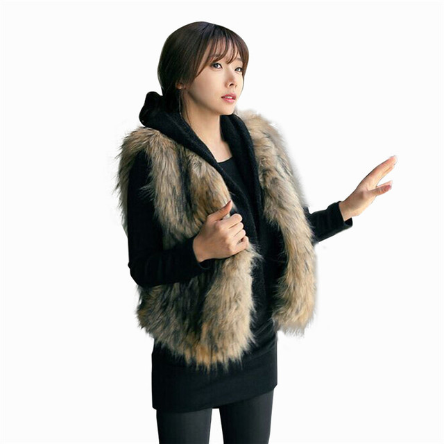 Новая Мода Зима Теплая Толстые Женщины Жилет Без Рукавов Пальто Женщина Верхняя Одежда Длинные Волосы Женщины Куртка Chic Жилет Кардиган N231