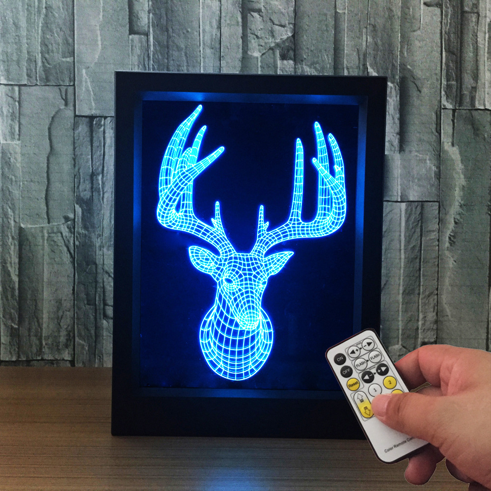 The Deer 3D Lamp Photo Frame illusion lamp  7 Color Change USB Desk lamp Remote Touch Switch bedroom light For Christmas gift meaningsfull colorful diamond usb projector led night light sperker 7 color illusion luminaria sleepling lamp for bedroom decor