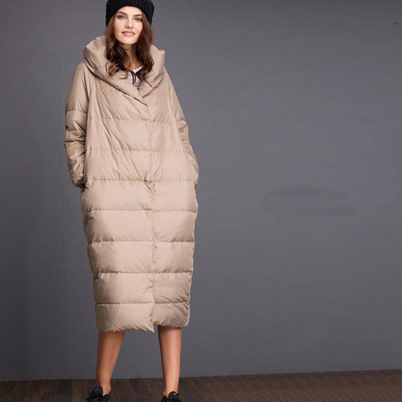 S-5XL Plus size 2018 Winte rfashion brand very good quality hooded duck   down   jacket female long thicker warm   down     coat   wj1392