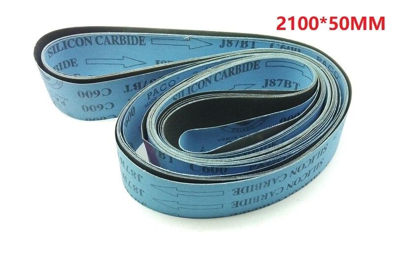 New 5pcs Silicon Carbide 2100*50MM Soft Cloth Belt Abrasive Sanding Belt For Wood  Soft Metal