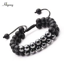 Men Women 8mm Black Matte Hematite Double Row Beaded Bracelet Adjustable Layer Handwoven Braided Bracelets For Best Gift