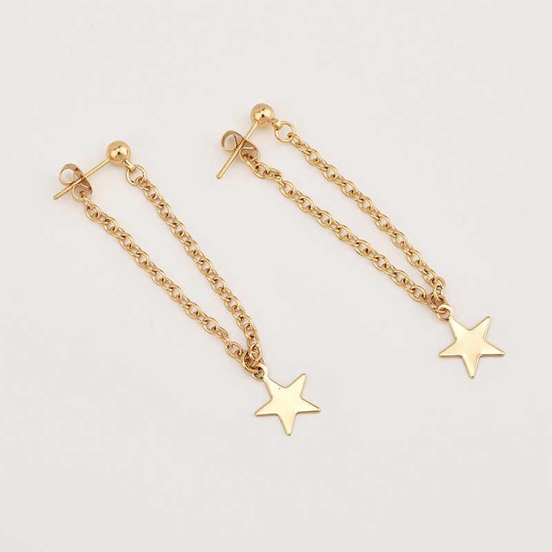 Mode Simple personnalité pentagramme étoile retour pendaison boucles d'oreilles chaîne en métal coréen balancent Brincos femmes bijoux EB130
