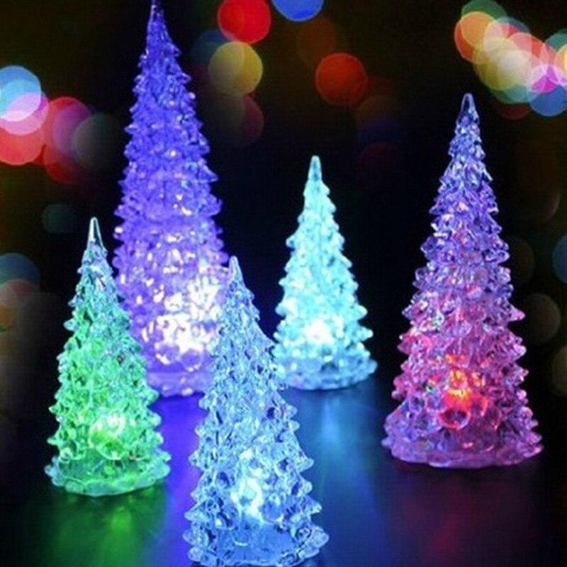 Acrylic Christmas Tree LED Colorful Lights Home Holiday Decor Christmas Lamp For Holidays Accessories