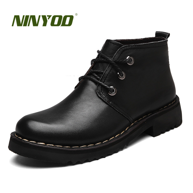 NINYOO Men Work Boots Genuine Leather Ankle Boots Motorcycle Winter Boots Waterproof Outdoor Cowboy Martin Shoes Plus Size 49 50