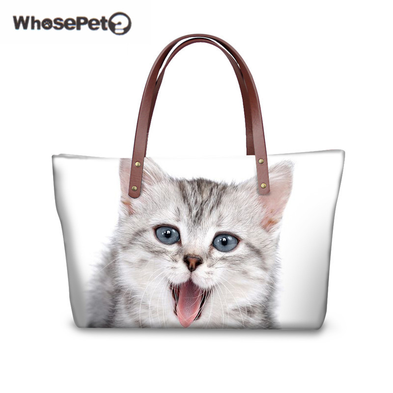 купить WHOSEPET Top-handle Totes Cats Messenger Shoulder Crossbody Bags for Women Cute Designed Handbag Bags Girls Female Big Tote по цене 2719.22 рублей
