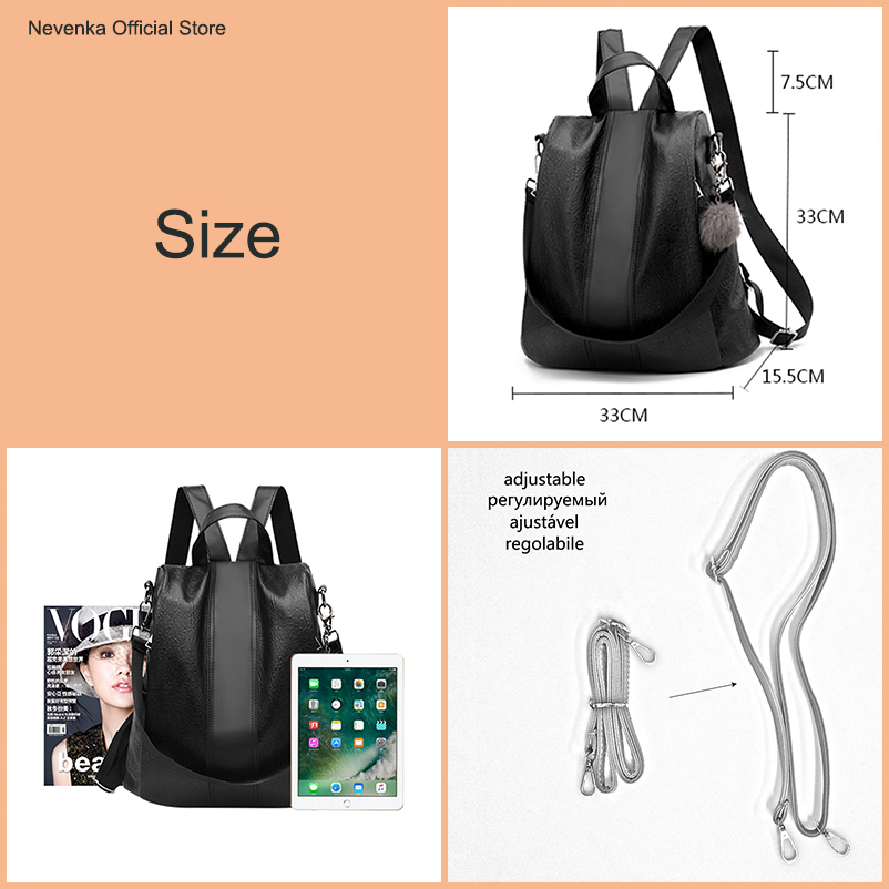 Nevenka 2018 Women Backpacks Fashion Leather Satchel Bags Sac Zipper Bags Casual Shoulder Bags Mochila01