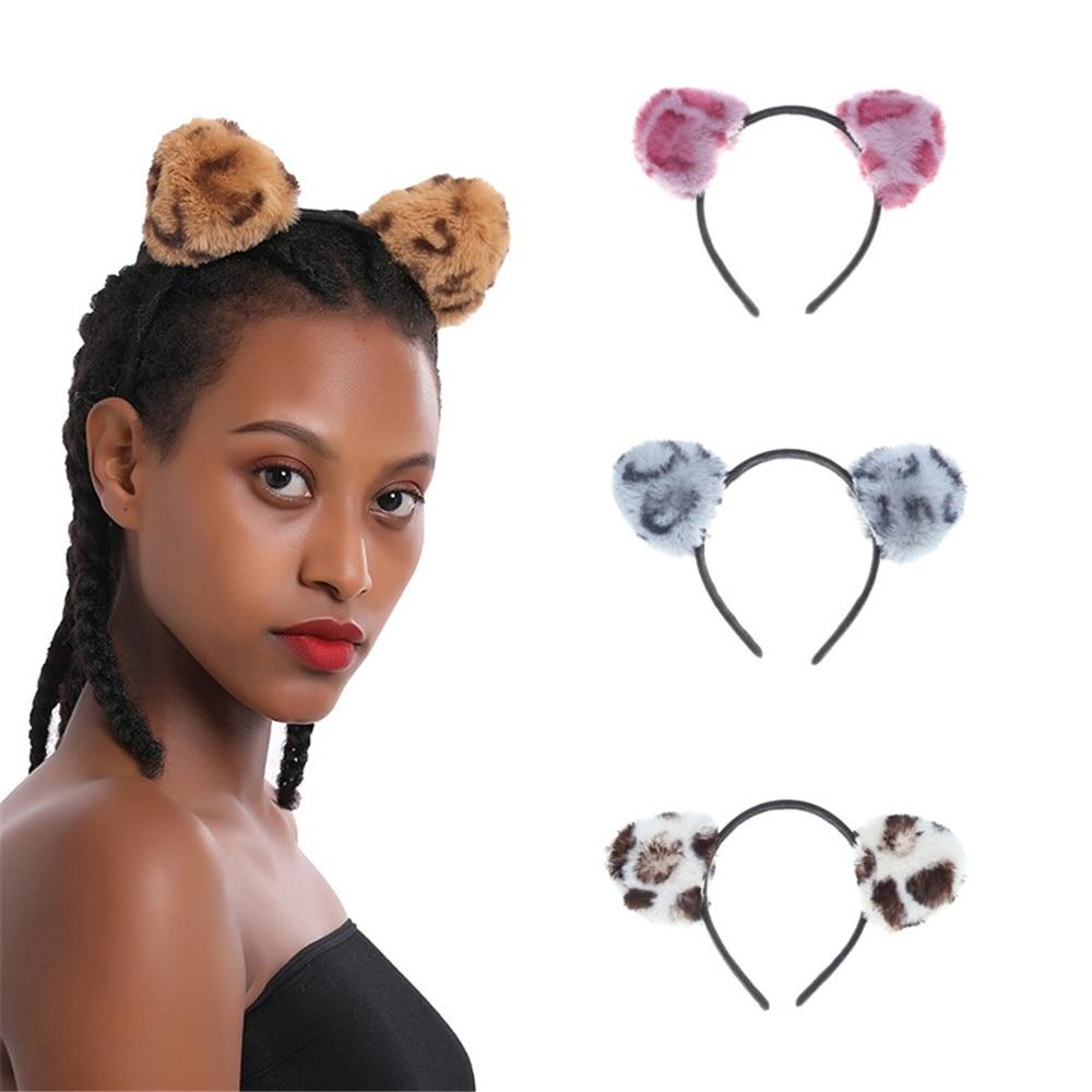 Birthday Party Cat Ears: 1PCS Fluff Leopard Grain Cat Ears Girls Hairband Costume