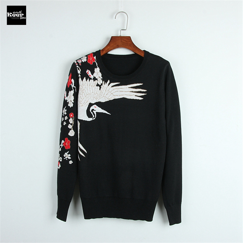 2018 New Fashion Sweater Female Pullovers Crane Embroidery Flowers Winter Knitted Sweaters Pullover Runway Designer Tops Jumper