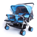 Twin Steel Frame Stroller With Mosquito Net,0-36 Month Baby Pram,2 Color Available