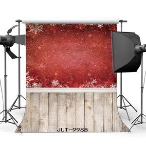 Image 1 - Chụp ảnh Phông Nền Chủ Đề Giáng Sinh Đỏ Bông Tuyết Vintage Sọc Sàn Gỗ Nền