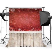 Fotografia Fondali Di Natale A Tema Rosso Fiocchi di Neve Vintage Strisce Pavimento In Legno Sfondo